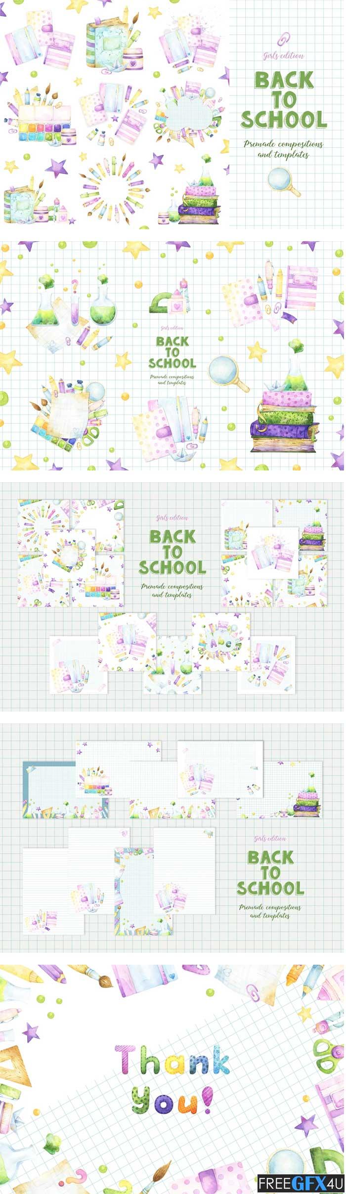 Back to School Girls Premade Designs