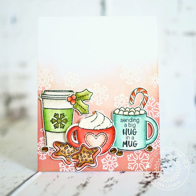Sunny Studio Stamps: Mug Hugs Hot Chocolate & Coffee Christmas Card by Lexa Levana.