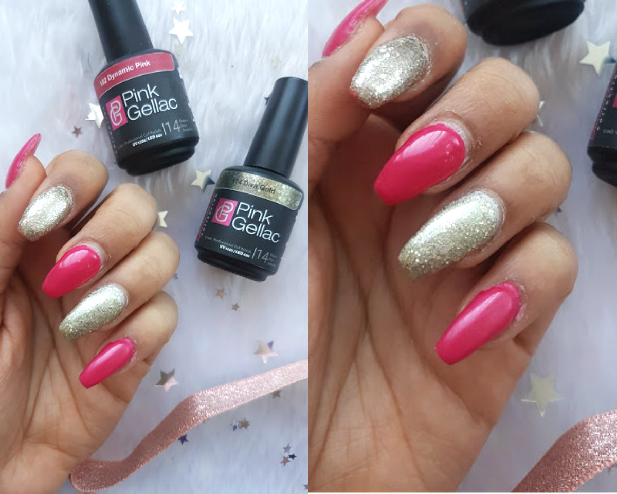 At Home Gel Nails With Pink Gellac Class Glitter