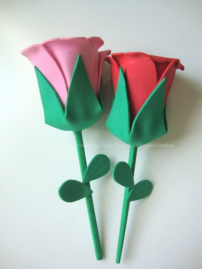 rosas de goma eva con tallo
