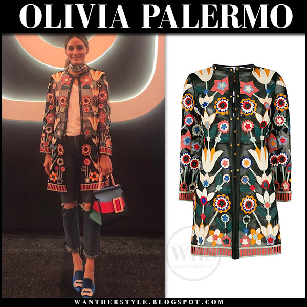 Olivia Palermo in floral embroidered sheer caban romantic jacket and ripped jeans. Celebrity style august 15