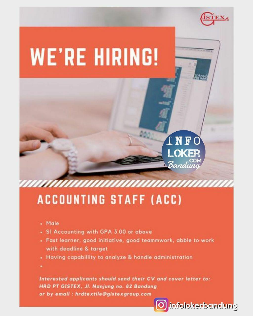 Lowongan Kerja Accounting PT. Gistex Bandung Januari 2018