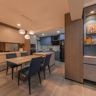 kitchen blue and white swiss interior