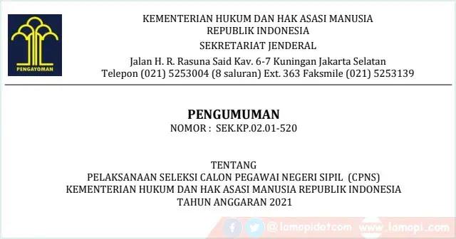 Formasi Cpns Kemenkumham Tahun 2021 Untuk Lulusan Sma Smk Lamopi Com