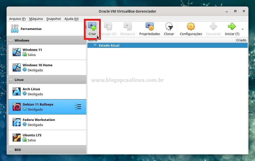 Criando um Snapshot da máquina virtual do Debian 11 Bullseye