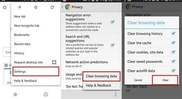 android uygulama önbellek temizleme clear browsing data