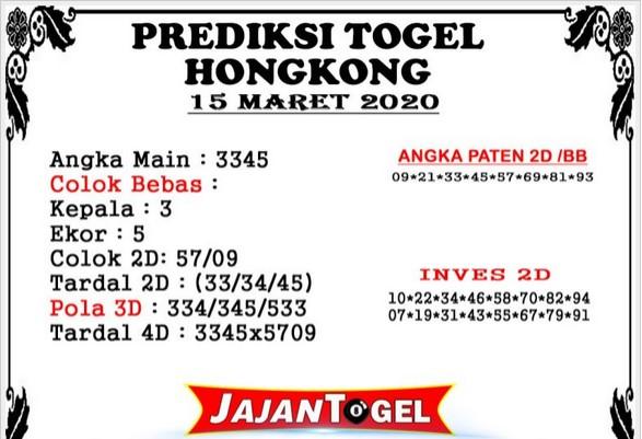 Prediksi Togel HK Malam Ini Minggu 15 Maret 2020 - Prediksi Jajan Togel