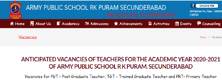 Army Public School Teacher Recruitment 2019 – 46 APS PGT, TGT & PRT Vacancy Vacancies for PGT - Post Graduate Teacher, TGT - Trained Graduate Teacher and PRT- Primary Teacher | Army Public School Teacher PGT, TGT & PRT Recruitment 2019 – Released on Official website. Army Public School R K Puram, Secunderabad has released the notification for 46 Teacher (PGT TGT PRT) post on the official site. Interested & Eligible candidates can send their Application Form on or before 05.01.2020/2019/11/army-public-school-teacher-recruitment-notification-2019-aps-pgt-tgt-prt-notification-vacancy-online-application-apsrkpuram.edu.in-vacancies.html