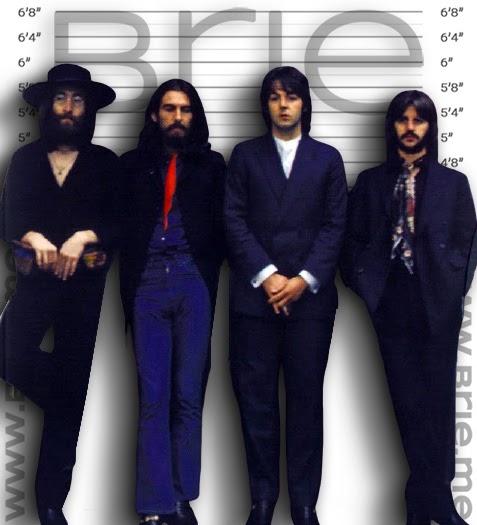 John Lennon, George Harrison, Paul McCartney, and Ringo Starr height comparison