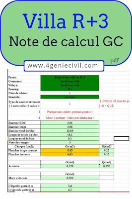 note de calcul exemple, feuille de calcul ferraillage b.a (excel)
