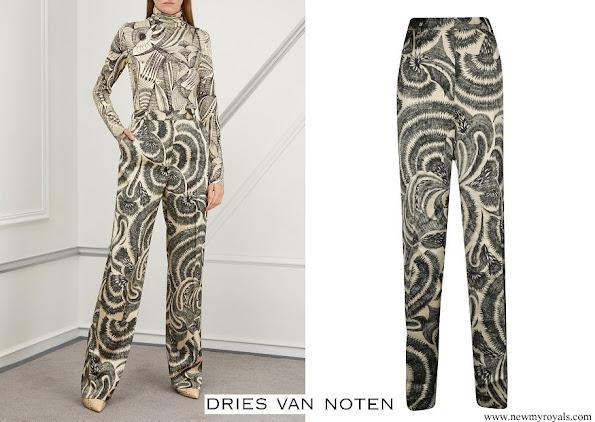 Queen Mathilde wore Dries Van Noten Printed Trousers