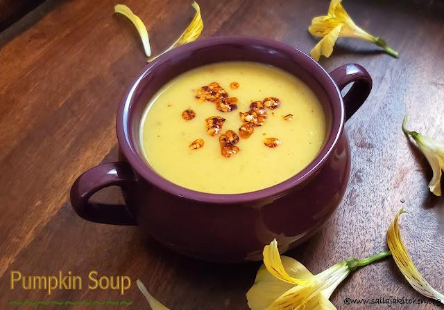 images of Pumpkin Soup / Yellow Pumpkin Soup / Pumpkin with Coconut Milk- Healthy Soup Recipes