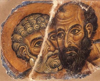 οι πρωτοκορυφαιοι Απόστολοι σε τοιχογραφία της μονής Βατοπεδίου