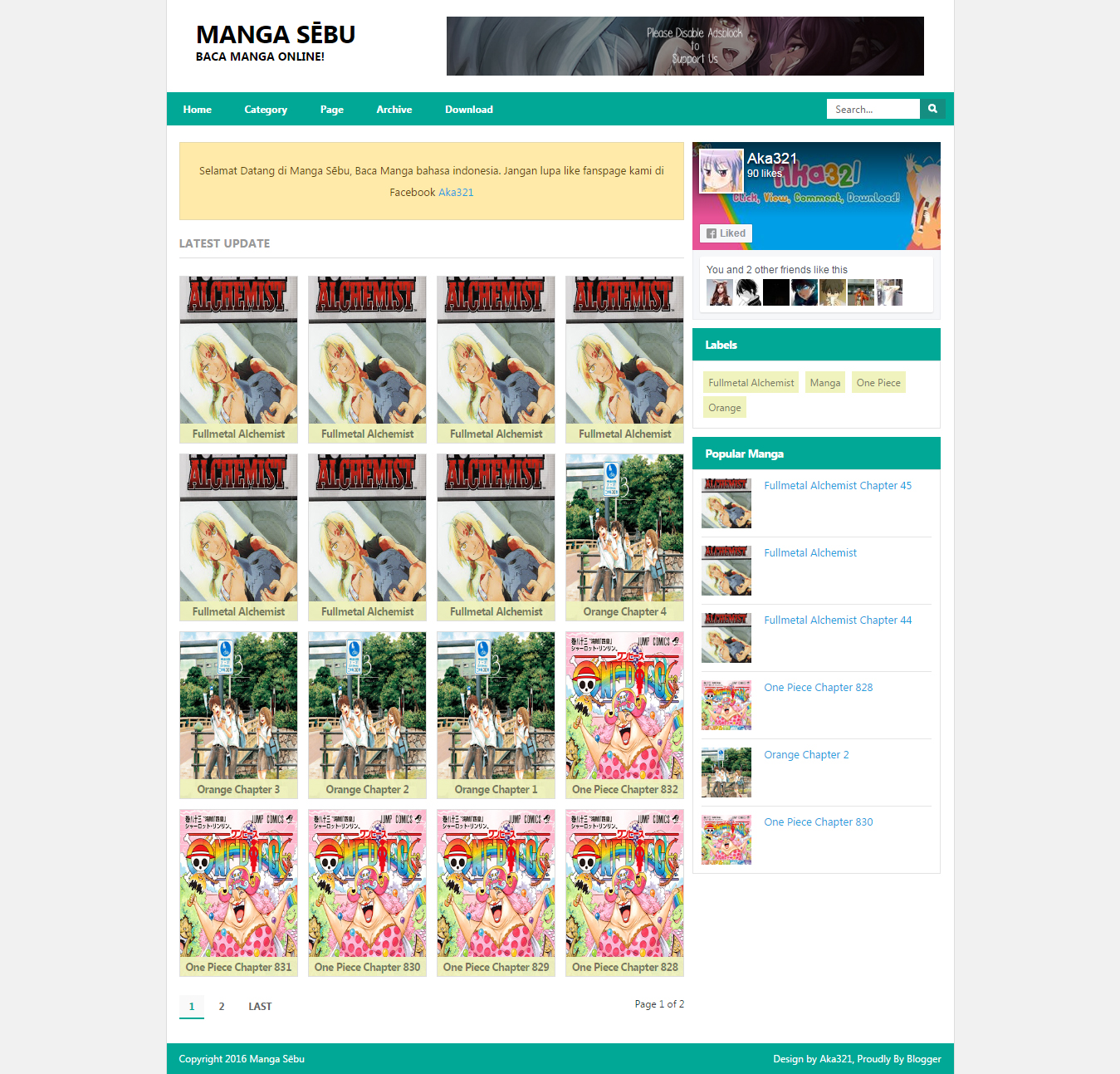 Manga Sēbu Blogger Template Preview, Aka321 Blogger Template, Aka321 Blogger Tutorial, Aka321 Manga Sēbu Template, Anime Blogger Template