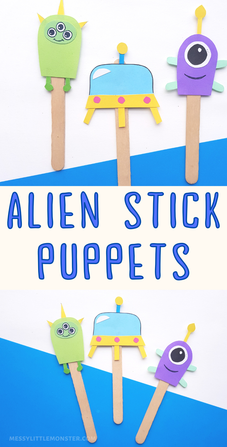 Alien puppets. Stick puppet craft for kids with printable alien template. Great for a space project for kids.