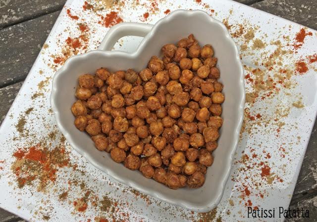 recette de pois chiches grillés, pois chiches grillés aux épices, cuisiner des pois chiches, que faire avec des pois chiches, pois chiches épicés, apéritif, grignotage apéritif, pois chiches apéritif, patissi-patatta