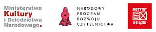 Logo Ministerstwa Kultury i Dziedzictwa Narodowego, logo Narodowego Programu Rozwoju Czytelnictwa, logo Instytutu Książki