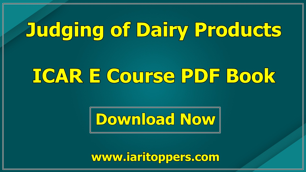 Judging Of Dairy Products ICAR e course PDF Download E Krishi Shiksha