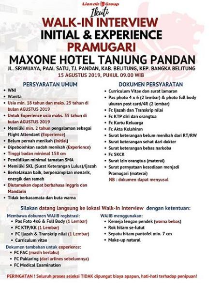 Lowongan Kerja FA INITIAL Batik Air, Lion Air dan Wings Air Agustus 2019