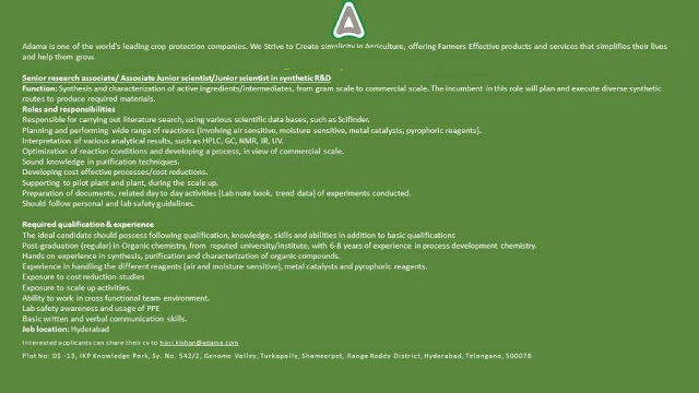 ADAMA Limited - Hiring for Synthetic R&D