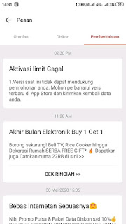 Aktivasi Limit Gagal