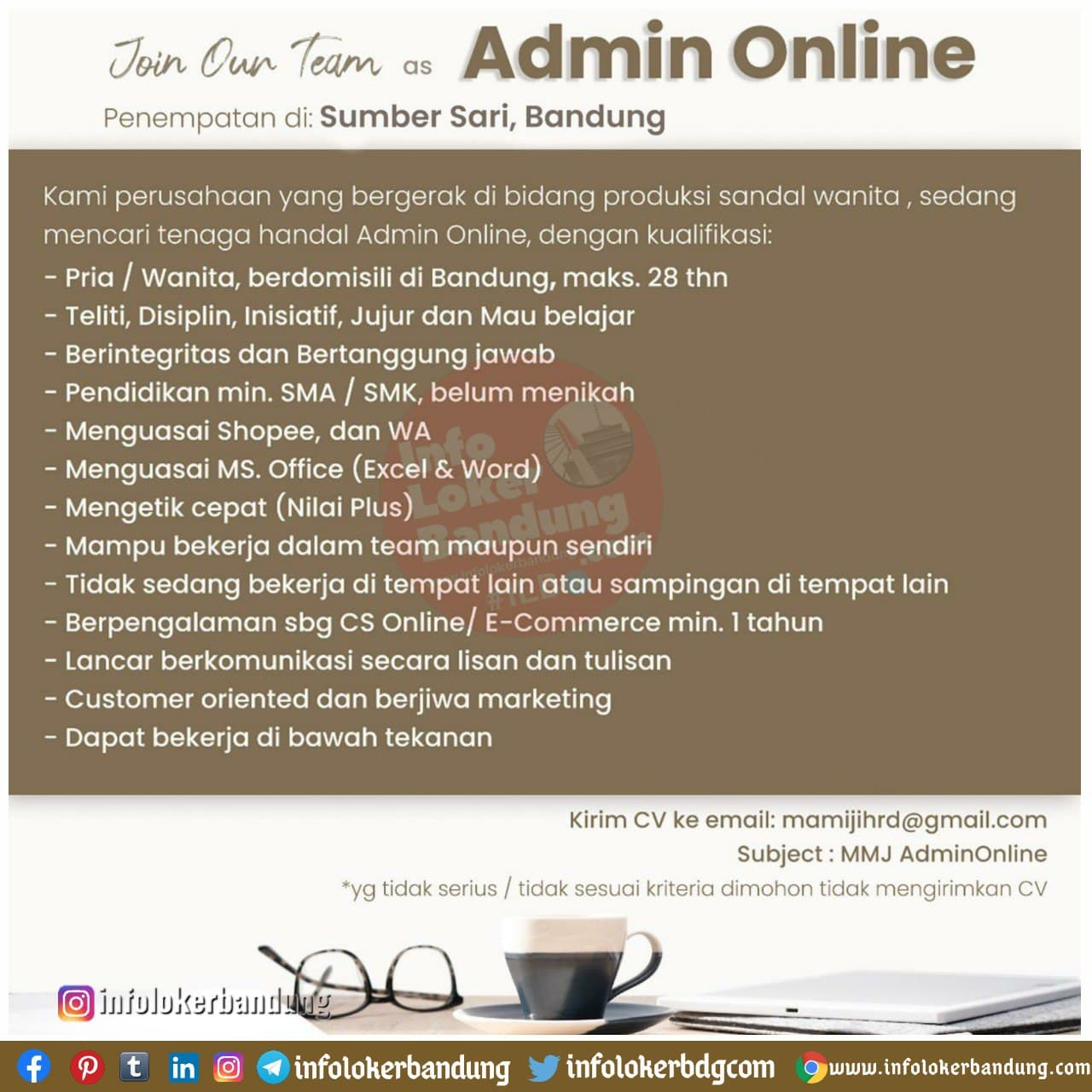Lowongan Kerja Admin Online Mamiji Bandung Januari 2021