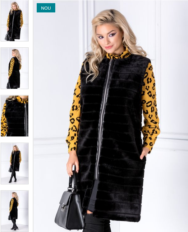 Vesta fete lunga eleganta neagra din blanita la pret mic pe net