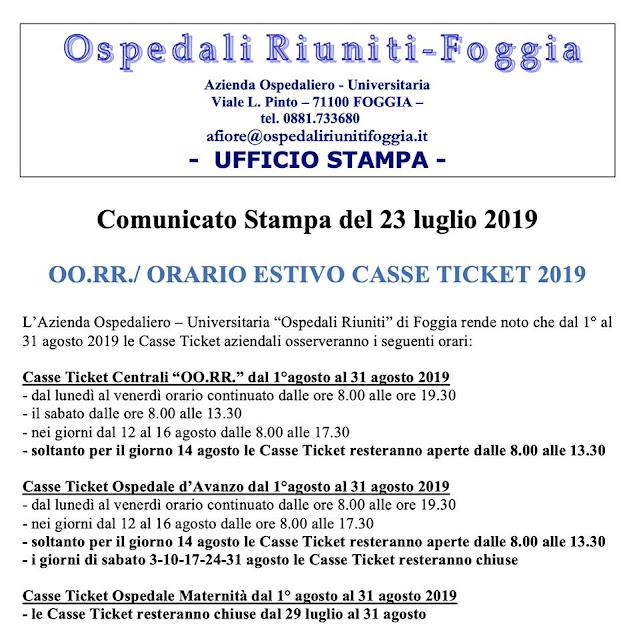Foggia, Ospedali Riuniti: casse ticket, gli orari estivi