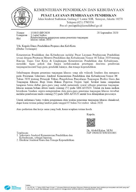 Surat Pemberitahuan Verifikasi Daftar Nama Guru Penerima Tunjangan Khusus Tahun 2020 PDF tomatalikuang.com