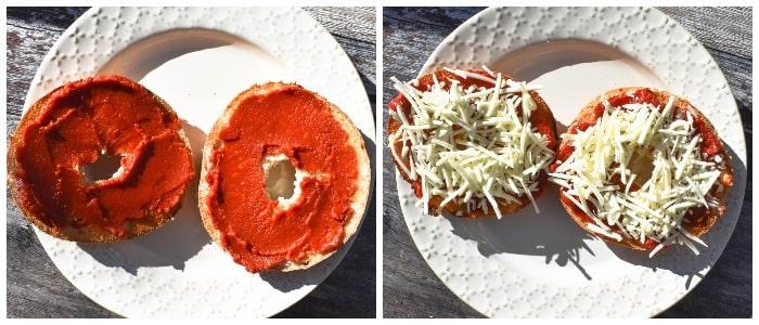 Making  Vegan Bagel Pizza - Step 2