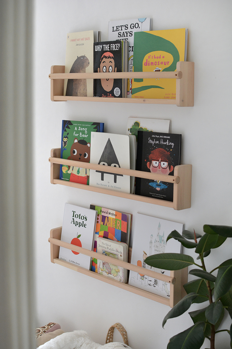 modern nursery with childrens books