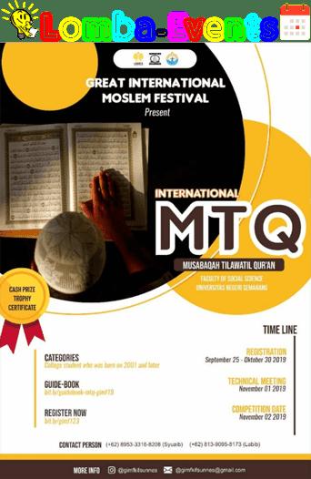 Lomba MTQ Internasional GIMF UNNES 2019 Mahasiswa