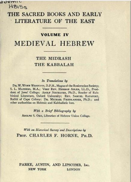 MEDIEVAL HEBREW ( Sacred Book )