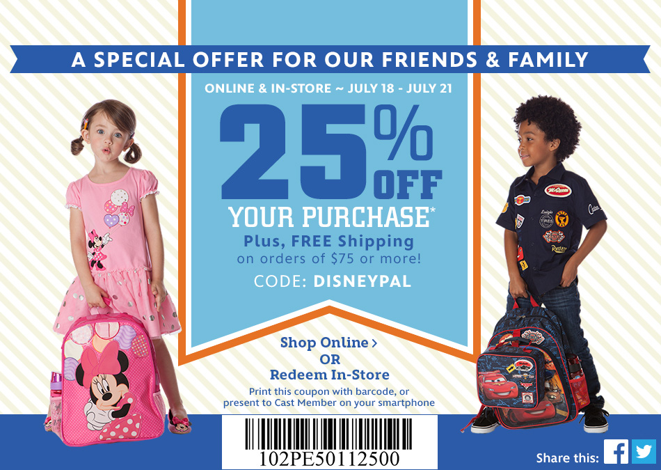 Disney Sisters: SALE! Disney Store 25% Off Your Purchase