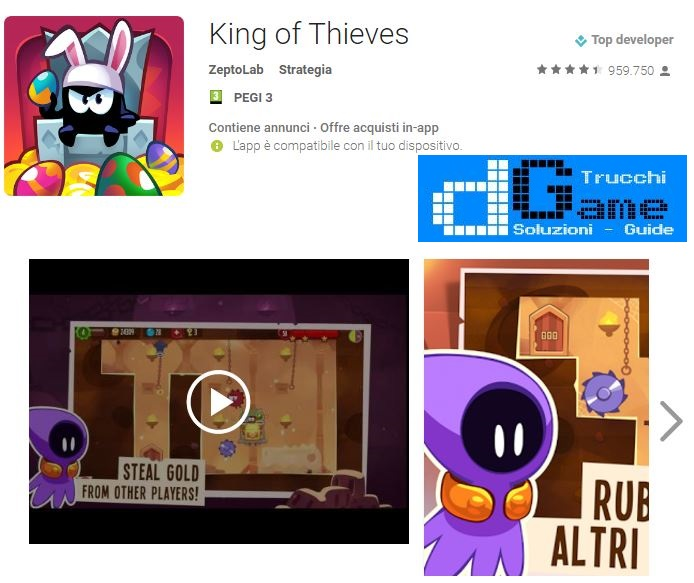 Soluzioni King of Thieves livello 101 102 103 104 105 106 107 108 109 110 | Trucchi e Walkthrough level