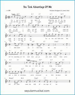 chord you took advantage of me lagu jazz standar