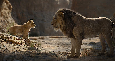 Simba (JD McCrary) and Scar (Chiwetel Ejiofor) stare each other down in the Pride Lands in Jon Favreau's 2019 Disney film The Lion King