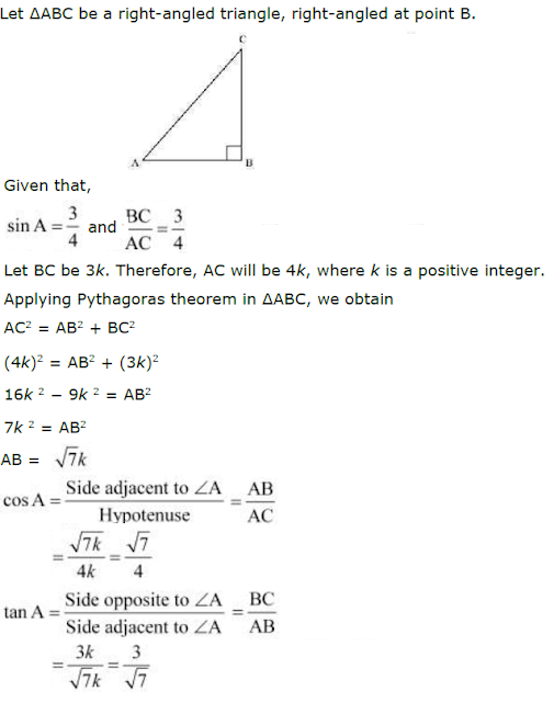 Class 10 Mathematics CBSE Guide - Introduction to Trigonometry - NCERT Solutions