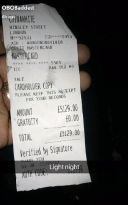 Wow! Davido Spends £5129 At London Night Club (Photo)