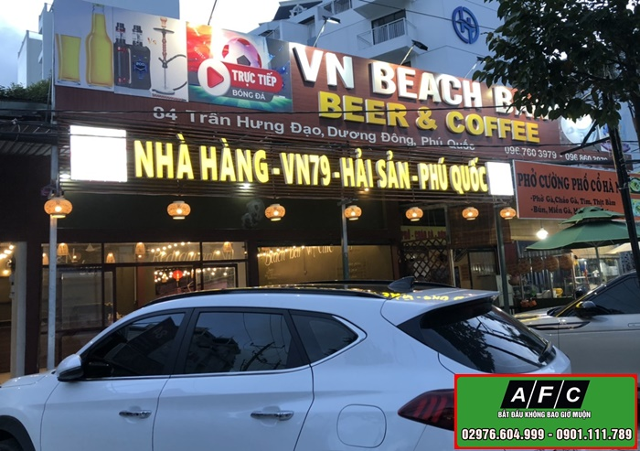 Làm bảng hiệu Nhà hàng VN79 Hải sản Phú Quốc