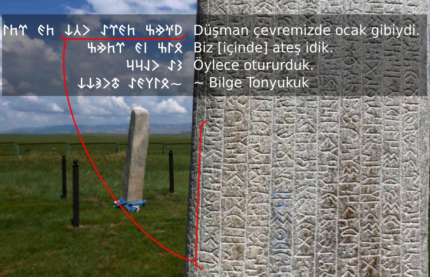 Orhun Yazıtları - Bilge Tonyukuk yazıtları Göktürkçe yazılar