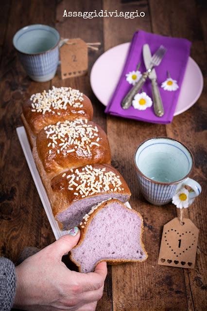 Pan brioche giapponese con le patate viola - Japanese purple sweet potato bread