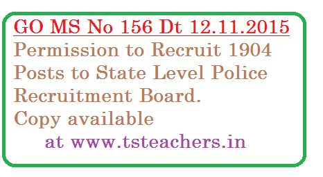 Public Services – Recruitment – Filling up  of  Two  Thousand  Nine  Hundred and Four (2,904) vacant posts through Direct Recruitment - Permission to the Telangana State Level Police Recruitment Board – Orders   –Issued.go-ms-no-156-state-level-police-1904-posts-recruitment-in-ts