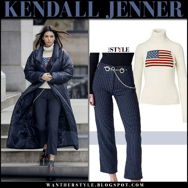 Kendall Jenner in cream American flag sweater and blue pinstripe pants New York Fashion Week what she wore 2017