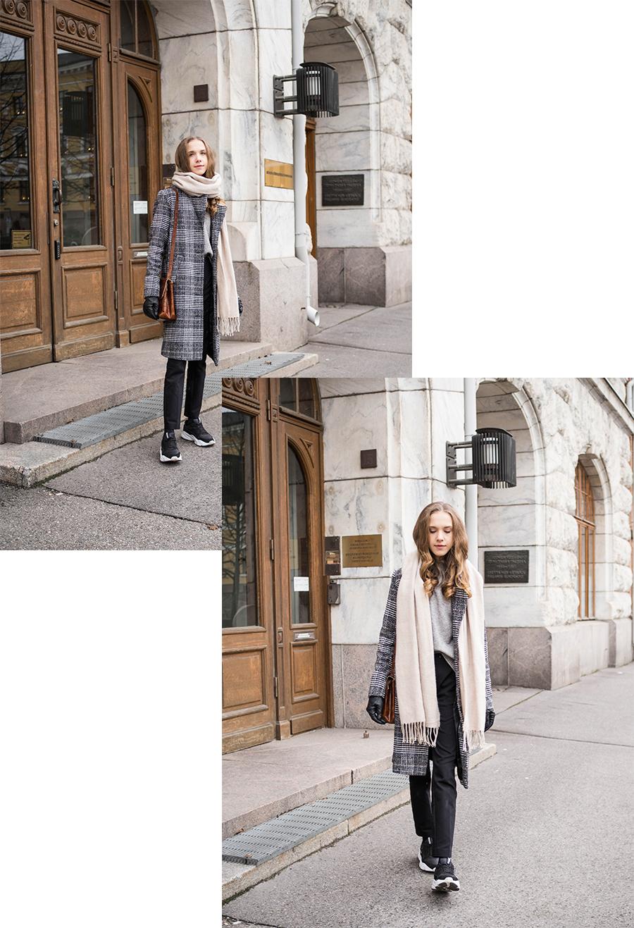 Harmaa ruututakki, suorat housut ja lenkkarit // Grey checked coat, tailored trousers and sneakers