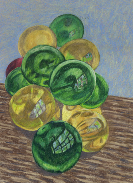 Colored pencil drawing of glass grapes
