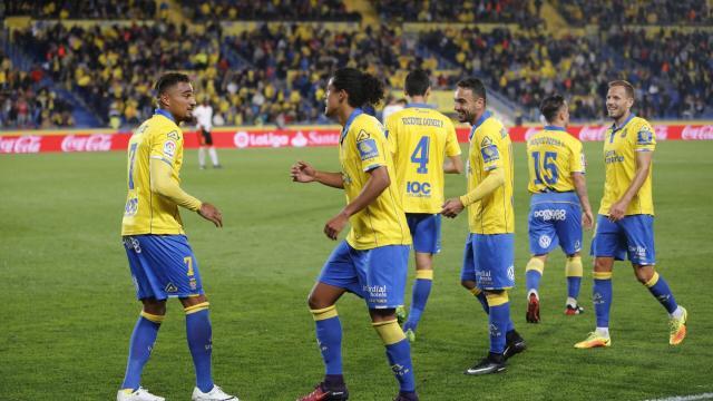 Caras de feliciad entre los jugadores de UD Las Palmas
