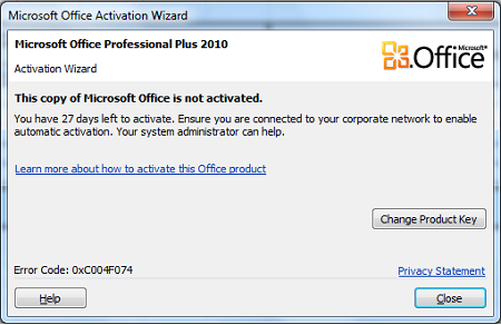 product activation failed office 2010