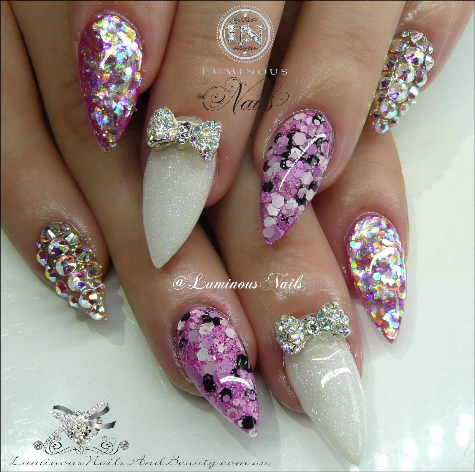 Luminous Nails: Pretty in Pink Acrylic Nails with Encased Flowers ...