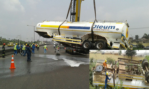 fuel tanker falls into ditch otedola bridge